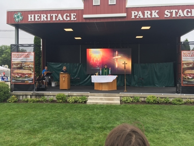 Father Jason celebrates Mass at the Elkhart County Fair